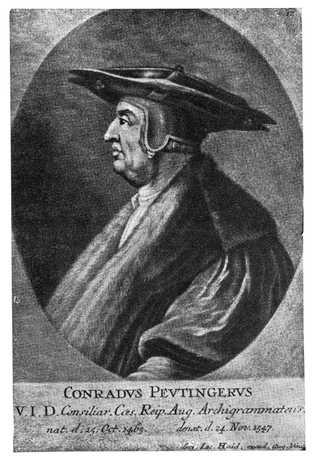 Cette gravure du 18e siècle représente le bibliophile allemand propriétaire de la carte du même nom.