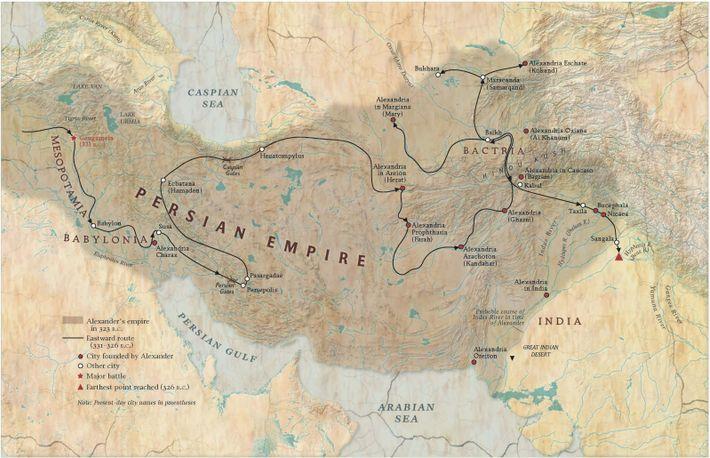 Les huit années de campagne d'Alexandre qui le menèrent d'Anatolie à la frontière de l'Inde virent ...