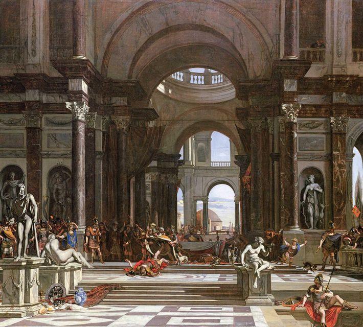 Exposé à la Galerie d'Art Ferens à Hull en Angleterre, le tableau « Alexandre tuant Cleitos ...