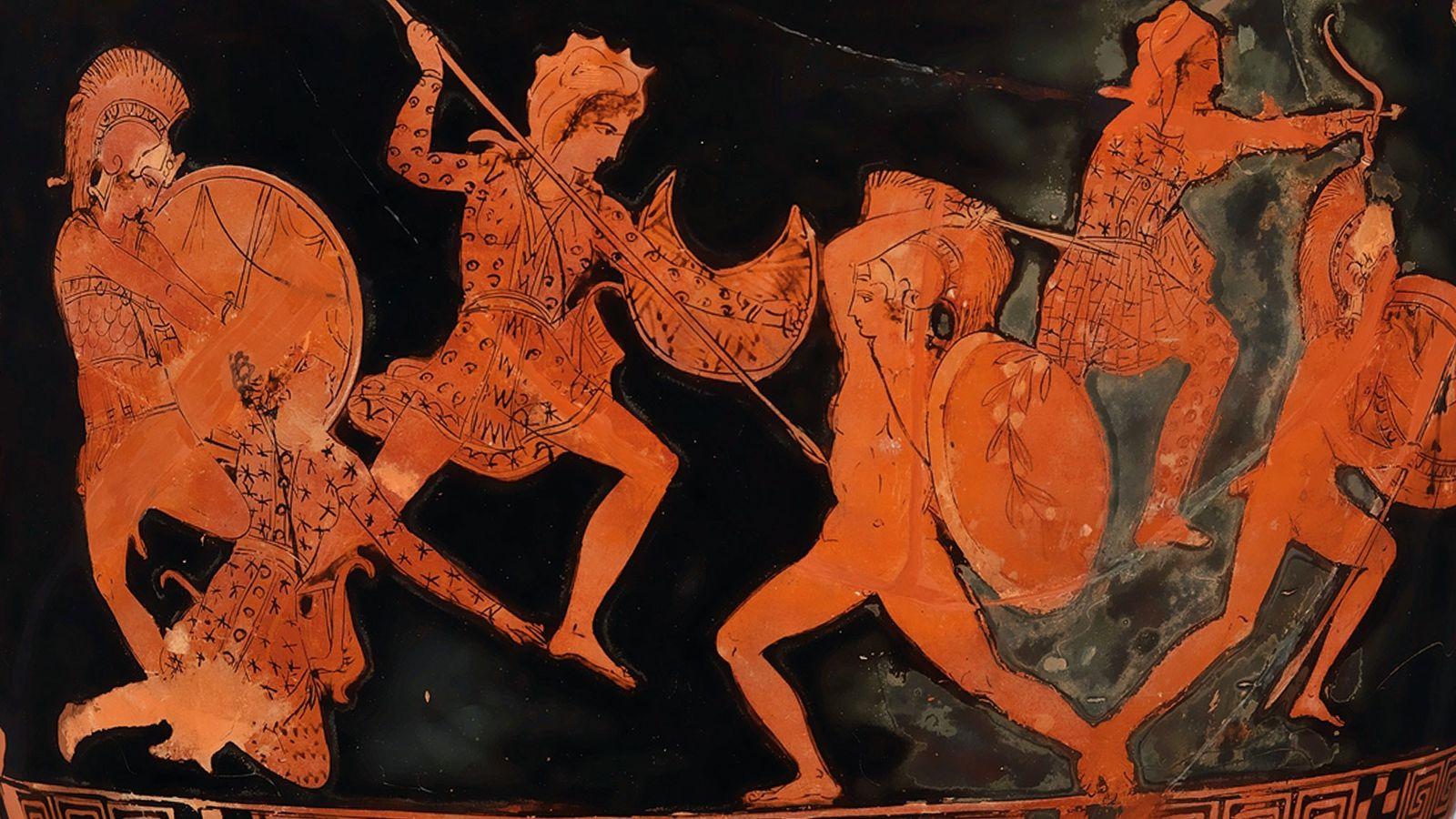 Illustration d'une scène de combat entre Amazones et Grecs sur un lécythe (récipient à huile) en ...