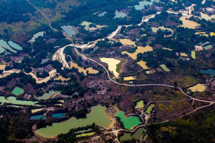 Vue aérienne du camp minier aurifère informel Esperanca IV près du territoire autochtone Menkragnoti à Altamira ...
