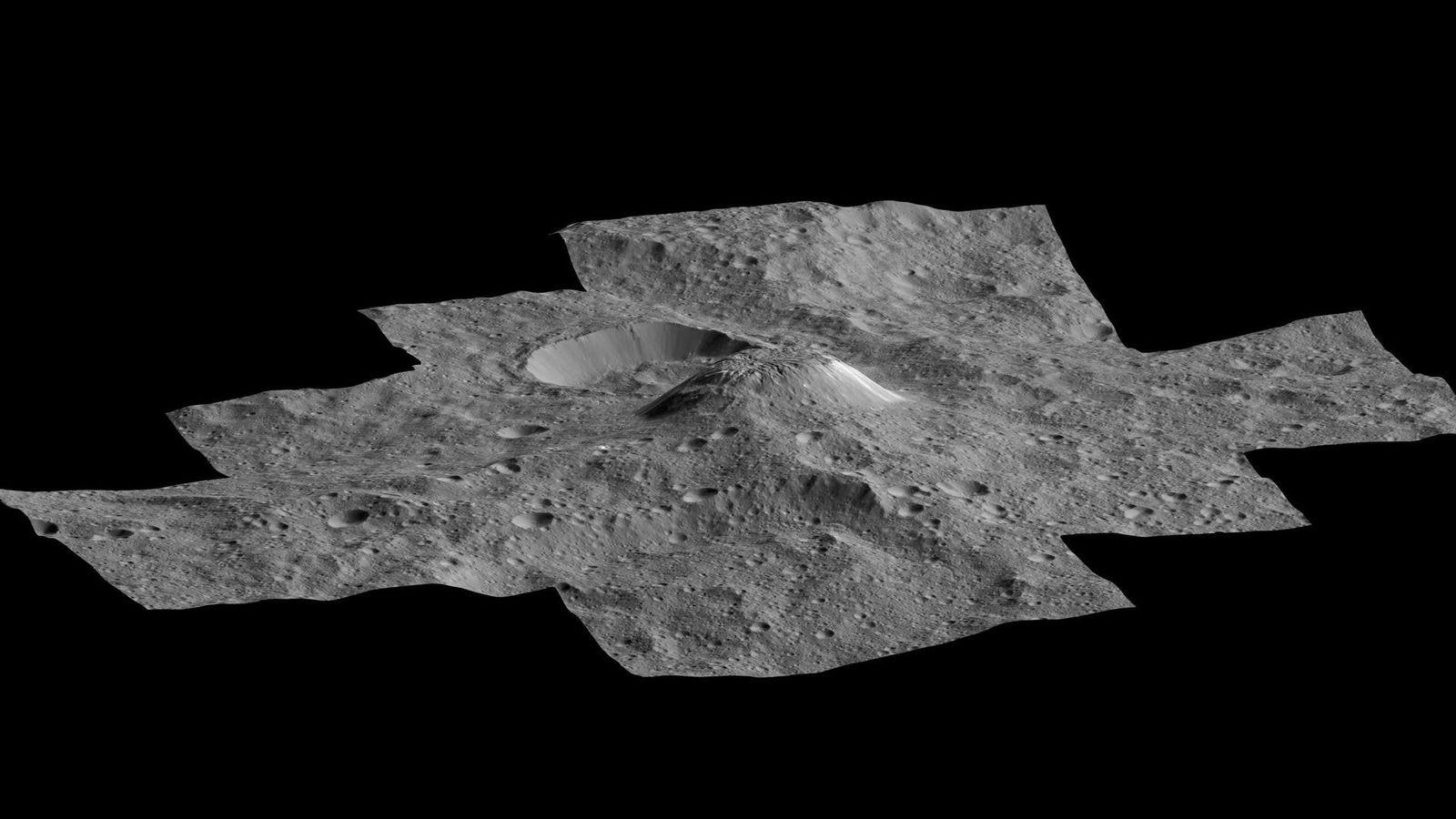 Sur cette photo créée à partir des images prises par la sonde spatiale Dawn de la ...