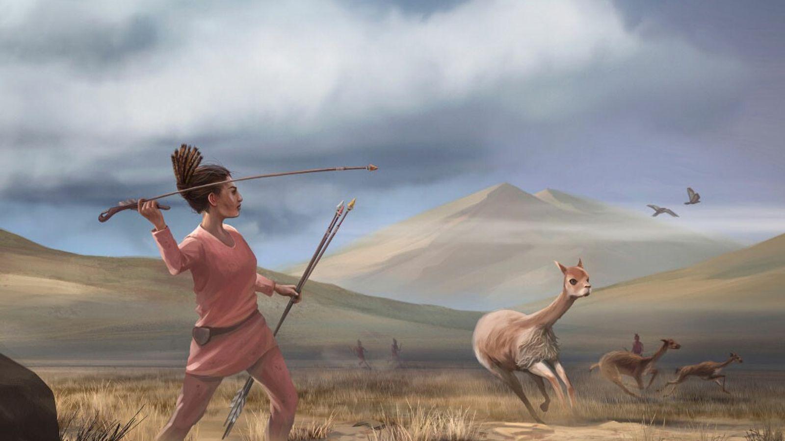 Représentation artistique d'une scène de chasse dans les Andes, en Amérique du Sud, il y a ...