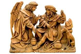 Un ange et Saint Roch,protecteur des pestiférés.Sculpture du XVIe siècle.