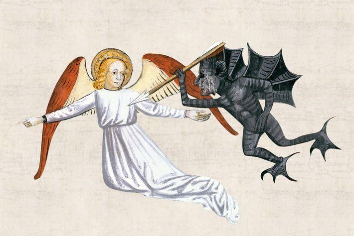 Un ange pointe du doigtun pécheur, victime (non représentée) de la peste dans une peinture du ...