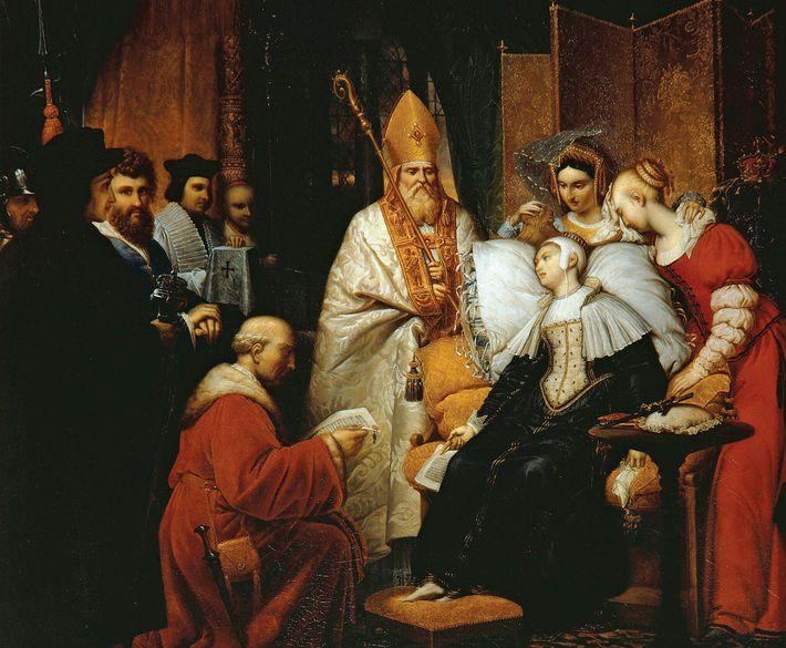 Anne Boleyn défaillit à la Tour de Londres en apprenant sa condamnation à mort. Peinture à l'huile de ...