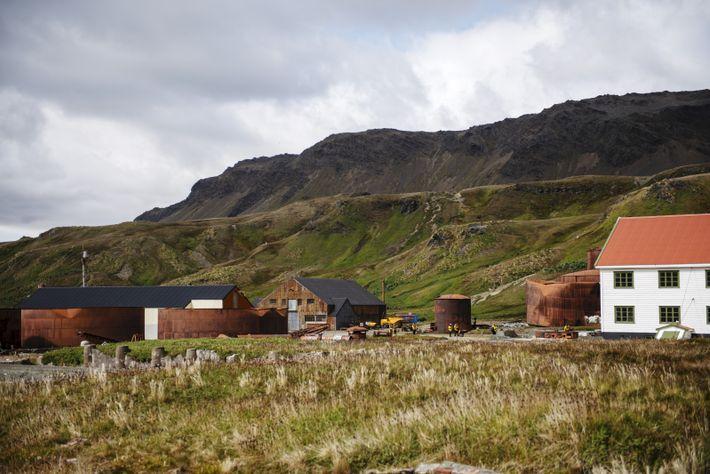 Située enGéorgie duSud, Grytviken fut laprincipale station baleinière de la région australe.