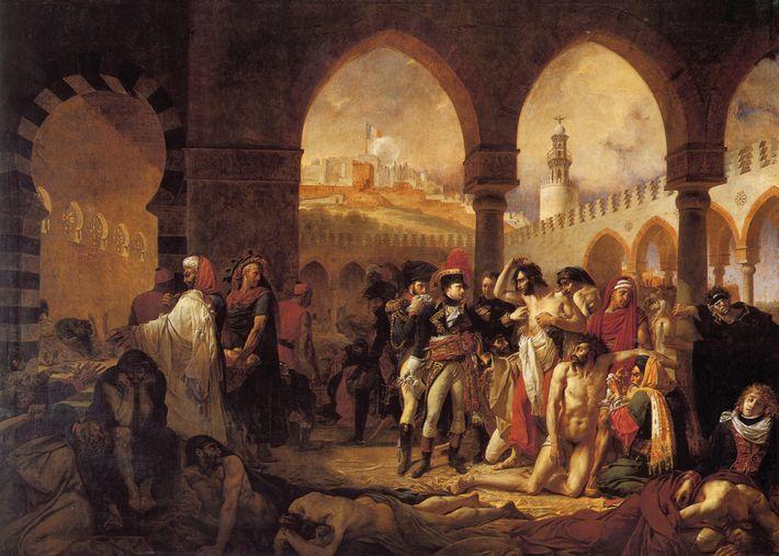 Commandé à Gros par Bonaparte lui-même, les Pestiférés de Jaffa (détail) met en scène le général ...