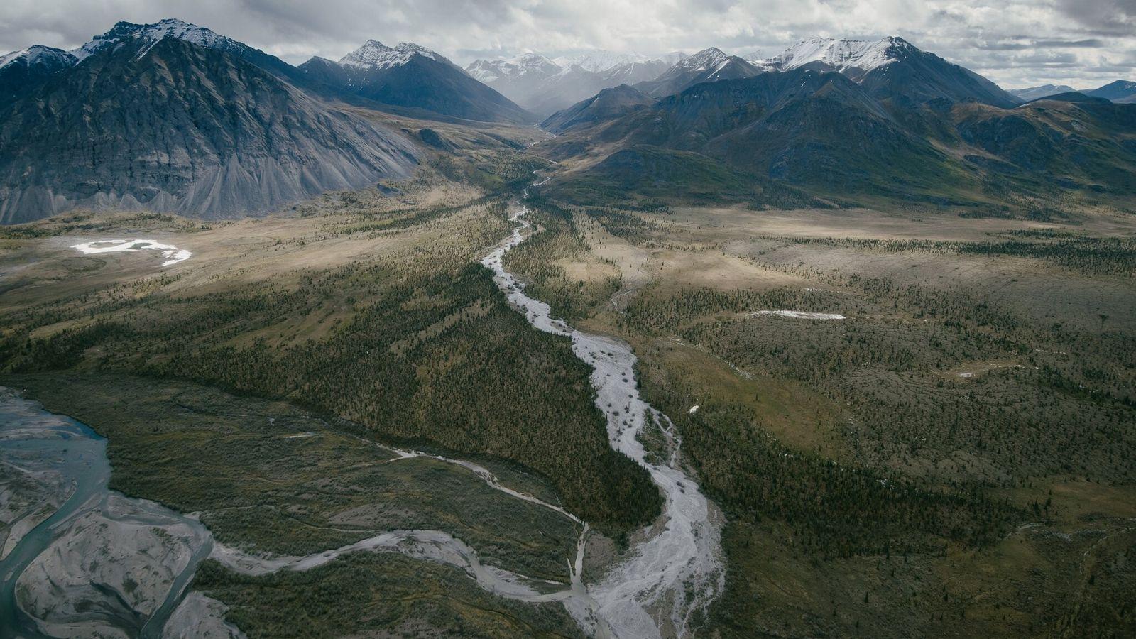 En Alaska, la chaîne de montagnes Brooks est la ligne de démarcation entre la taïga boisée ...