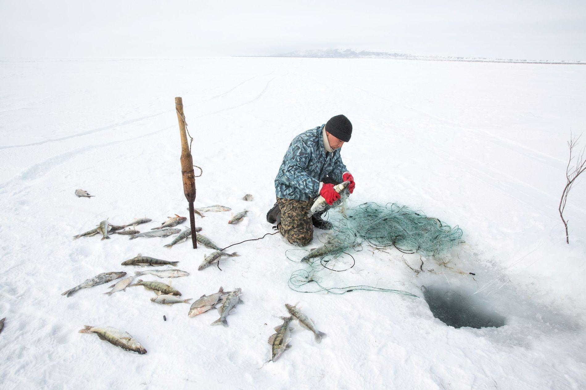 Près de Tastubek, au Kazakhstan, Omirserik Ibragimov, 25 ans, pêche sous la glace à l'aide d'un filet sur la partie nord de la mer d'Aral.