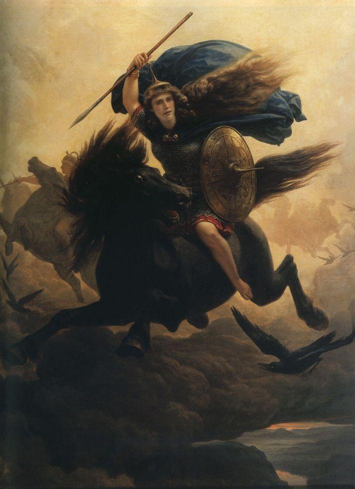 Cette huile sur toile de 1864 de Peter Nicolai Arbo représente une valkyrie avec une lance, un ...