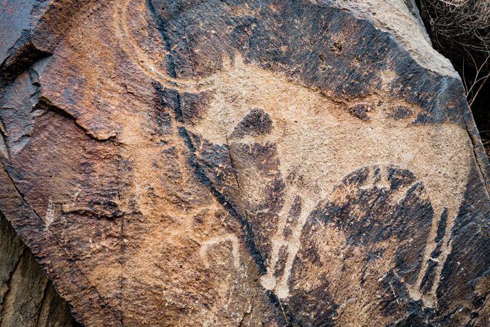 Les archers encerclent un cheval à cornes.Les artistes de l'âge du bronze de Tamgaly distinguaient les ...