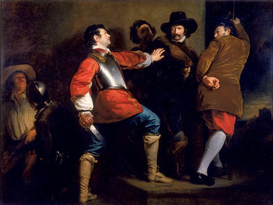Cette peinture de 1823 intitulée « Découverte d'une parcelle de poudre à canon et de la ...