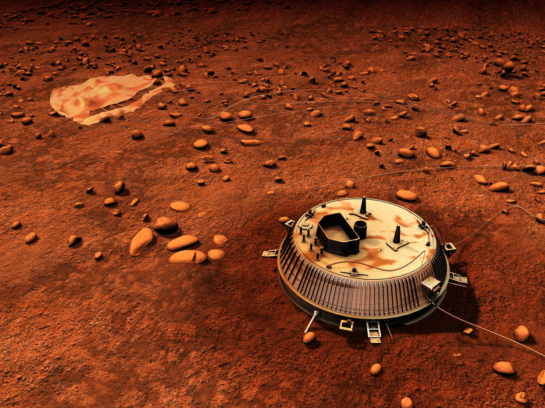 Cette vue d'artiste représente le site d'atterrissage de la sonde Huygens sur Titan, le plus grand ...