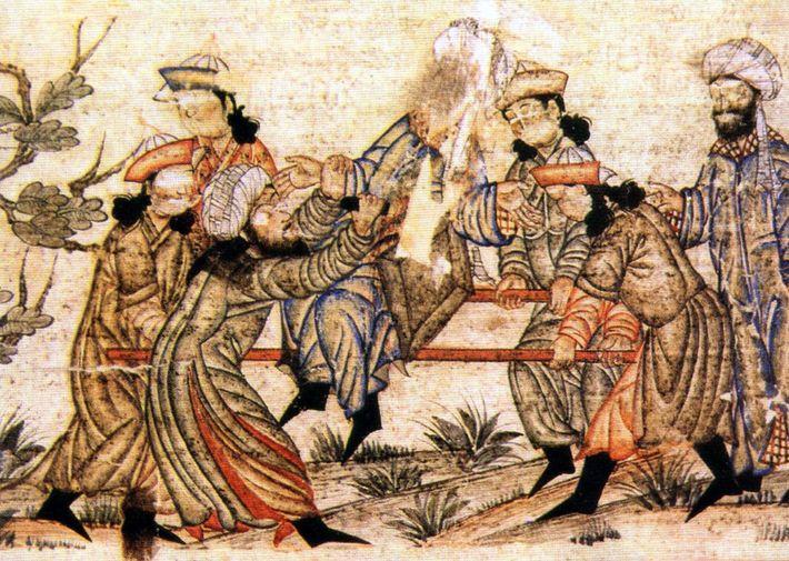 Une peinture médiévale représente le meurtre d'un vizir persan du 11e siècle par un membre des ...