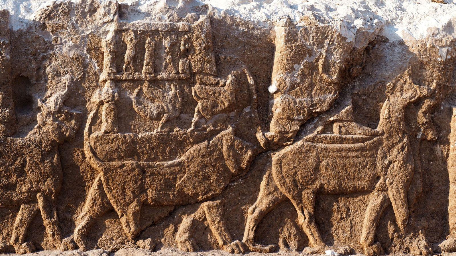 Ces anciens reliefs, que l'on trouve rarement en dehors des palais, représentent une procession de dieux ...
