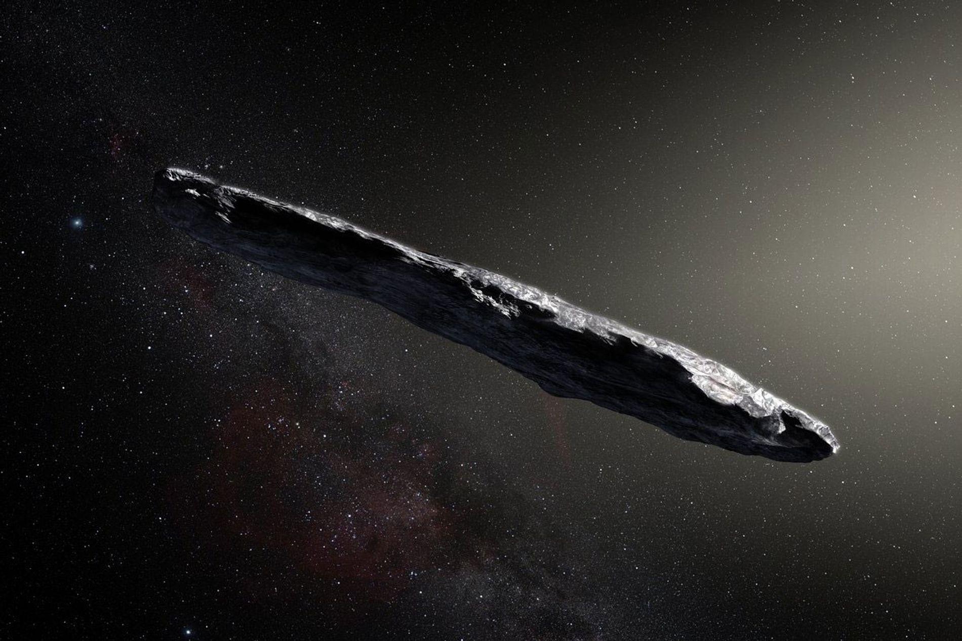 Représentation artistique de l'astéroïde`Oumuamua. Cet objet a traversé l'espace pendant des millions d'années avant de survoler ...