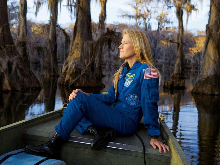 Karen Nyberg, photographié au Lac Caddo dans le Texas. Lors de sa seconde mission à bord ...