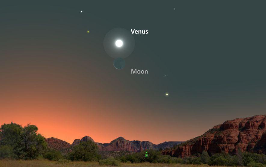 Le 19 août, Vénus donnera l'impression de planer au-dessus du croissant de lune.