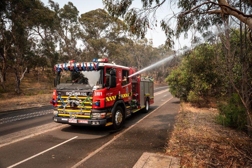 Fin décembre, les pompiers de la Metropolitan Fire Brigade de Melbourne aspergent d'eau les chauves-souris regroupées ...