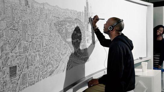Après avoir survolé une seule fois la ville de Mexico, l'artiste Stephen Wiltshire a dessiné le ...