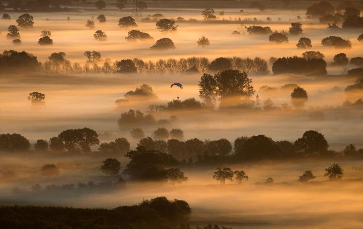 La brume matinale s'étend dans les champs alors que le soleil se lève au-dessus dans le ...