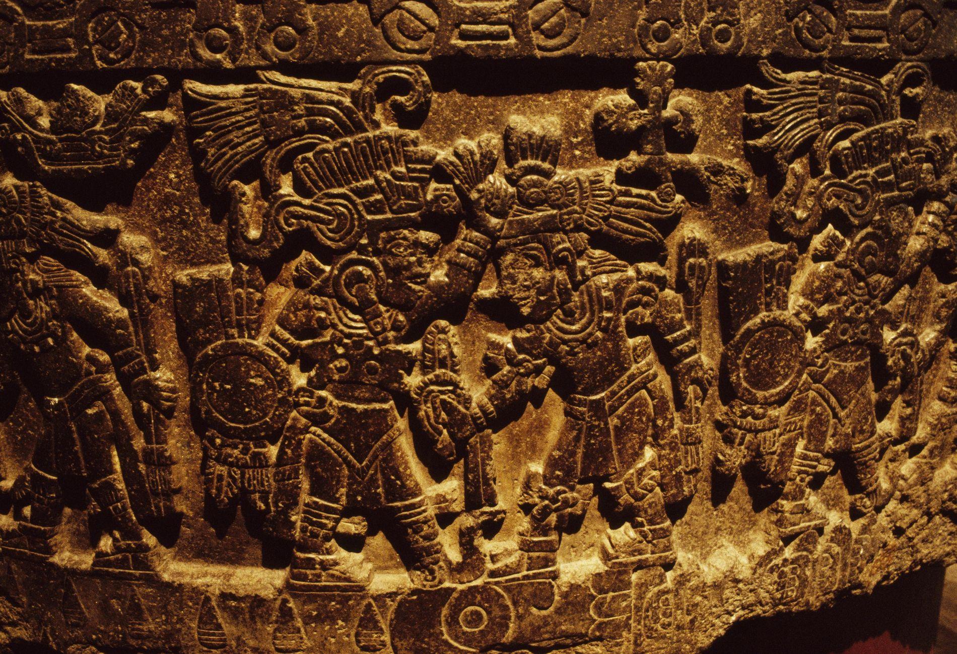 Représentation de Tezcatlipoca, le dieu aztèque parfois représenté sous forme de dinde, sur une pierre découverte ...