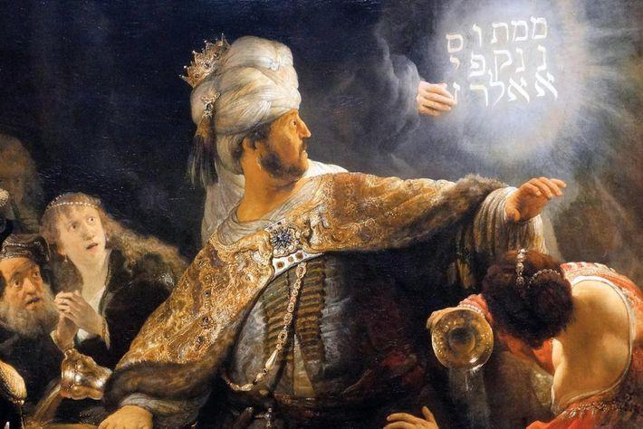 Le roi se fige de terreur et une femme renverse un des gobelets sacrés pillés de ...