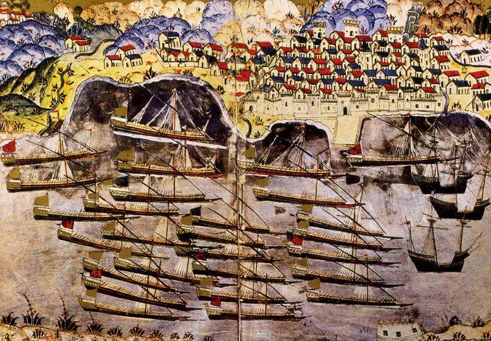 La flotte de Barberousse mouille au port français de Toulon en 1543. Cette miniature contemporaine a ...