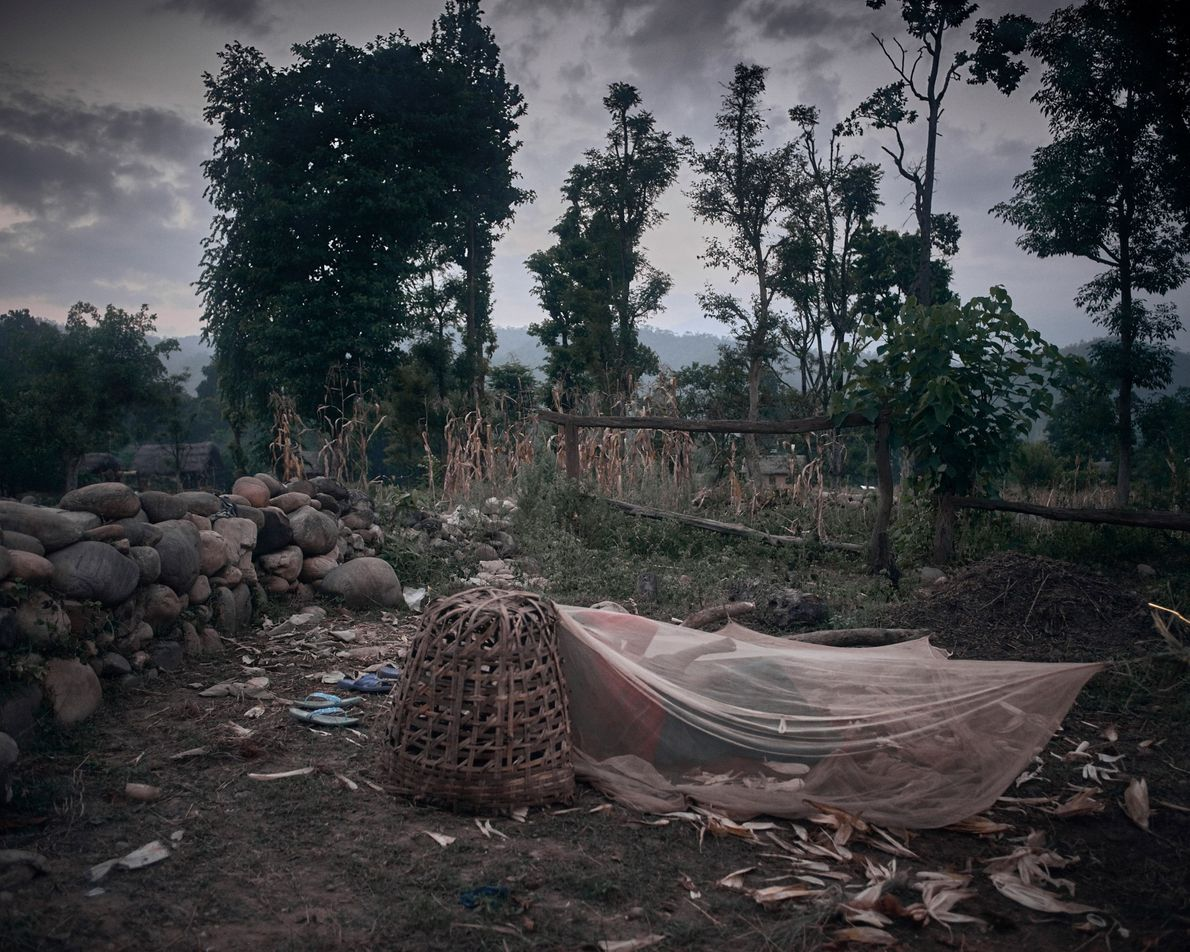 Une cabane chaupadi partagée par Pabitra Pariyar, 14 ans, et Dharma Nepali Pariyar, 25 ans, dans ...