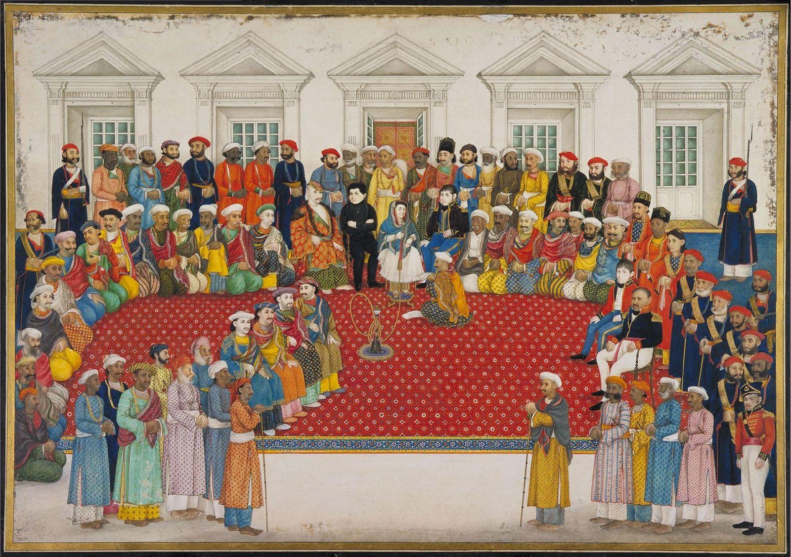 Cette peinture représentant Begum Samru (au centre) a été réalisée vers 1830. Commandante suprême de 3 ...