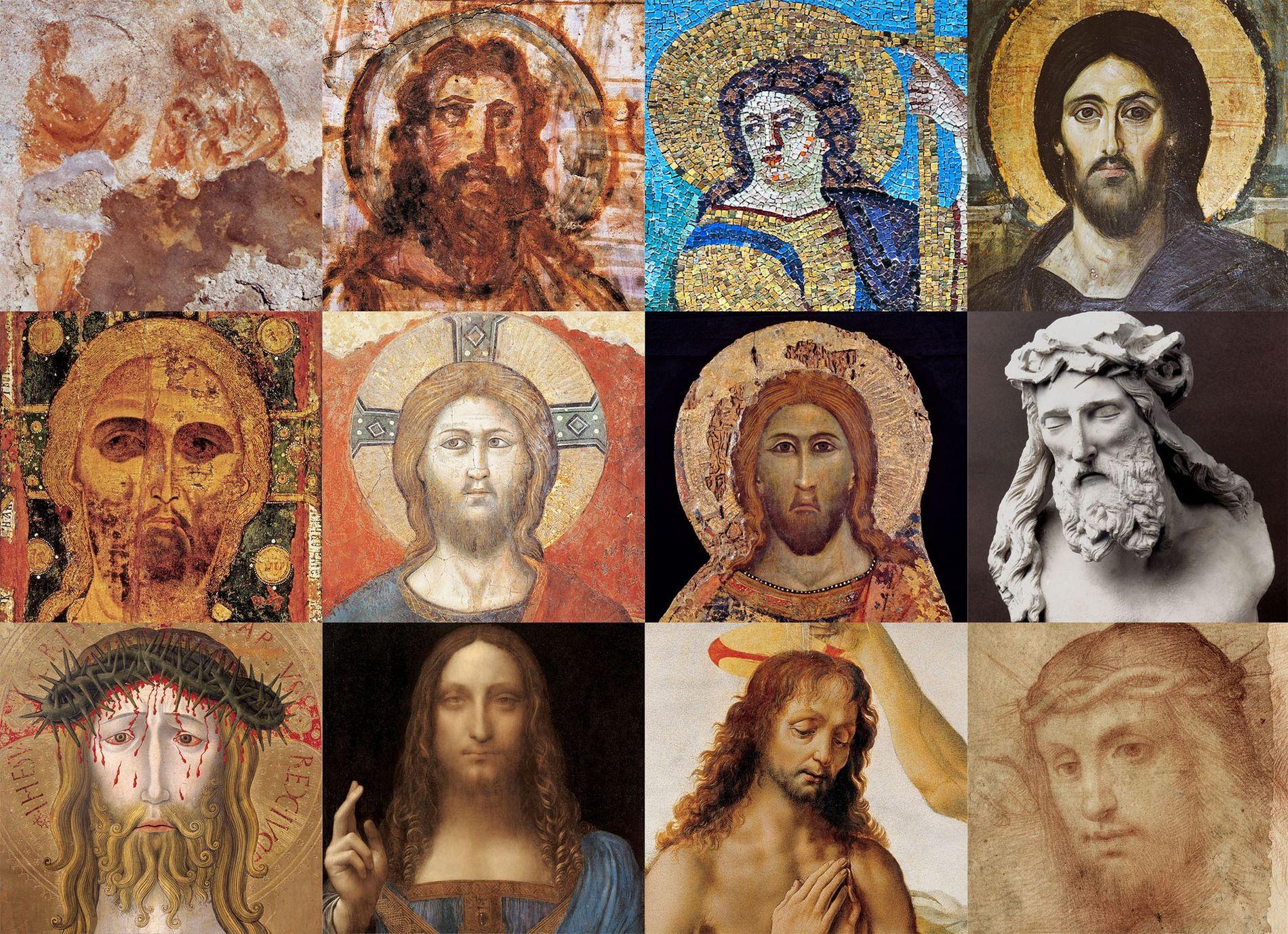 Portraits de Jésus, de l'époque romaine à nos jours  PREMIÈRE RANGÉE (de gauche à droite): 1) Marie, l'Enfant ...