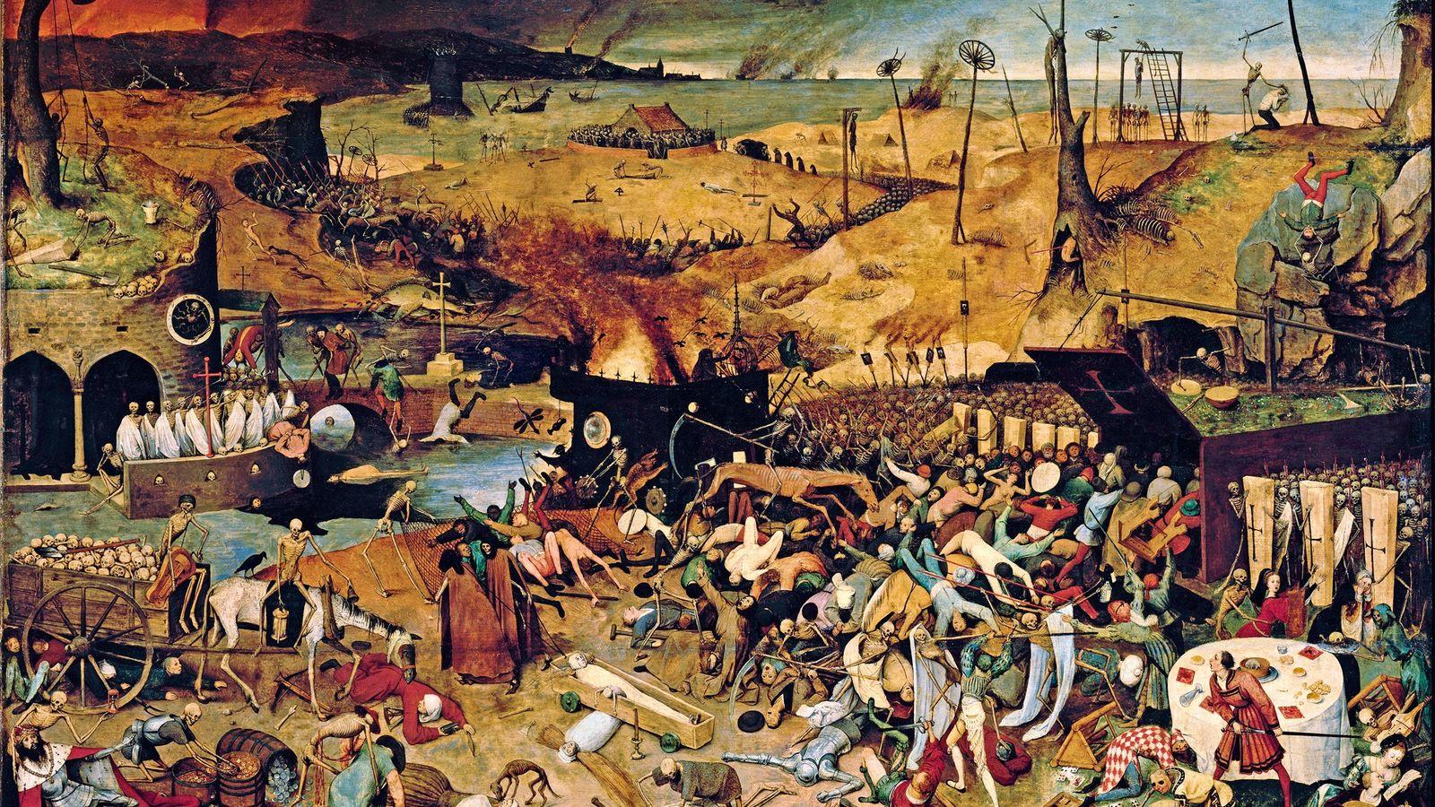 Ce tableau de 1562, « Le triomphe de la mort », de Pieter Bruegel l'Ancien, illustre ...