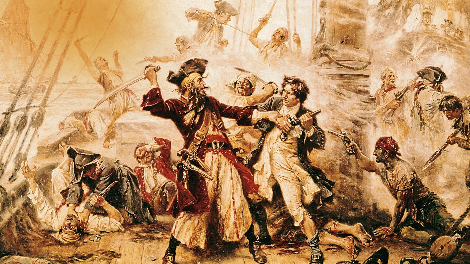 Cette peinture à l'huile de 1718 met en scène Barbe Noire lors de sa dernière bataille ...