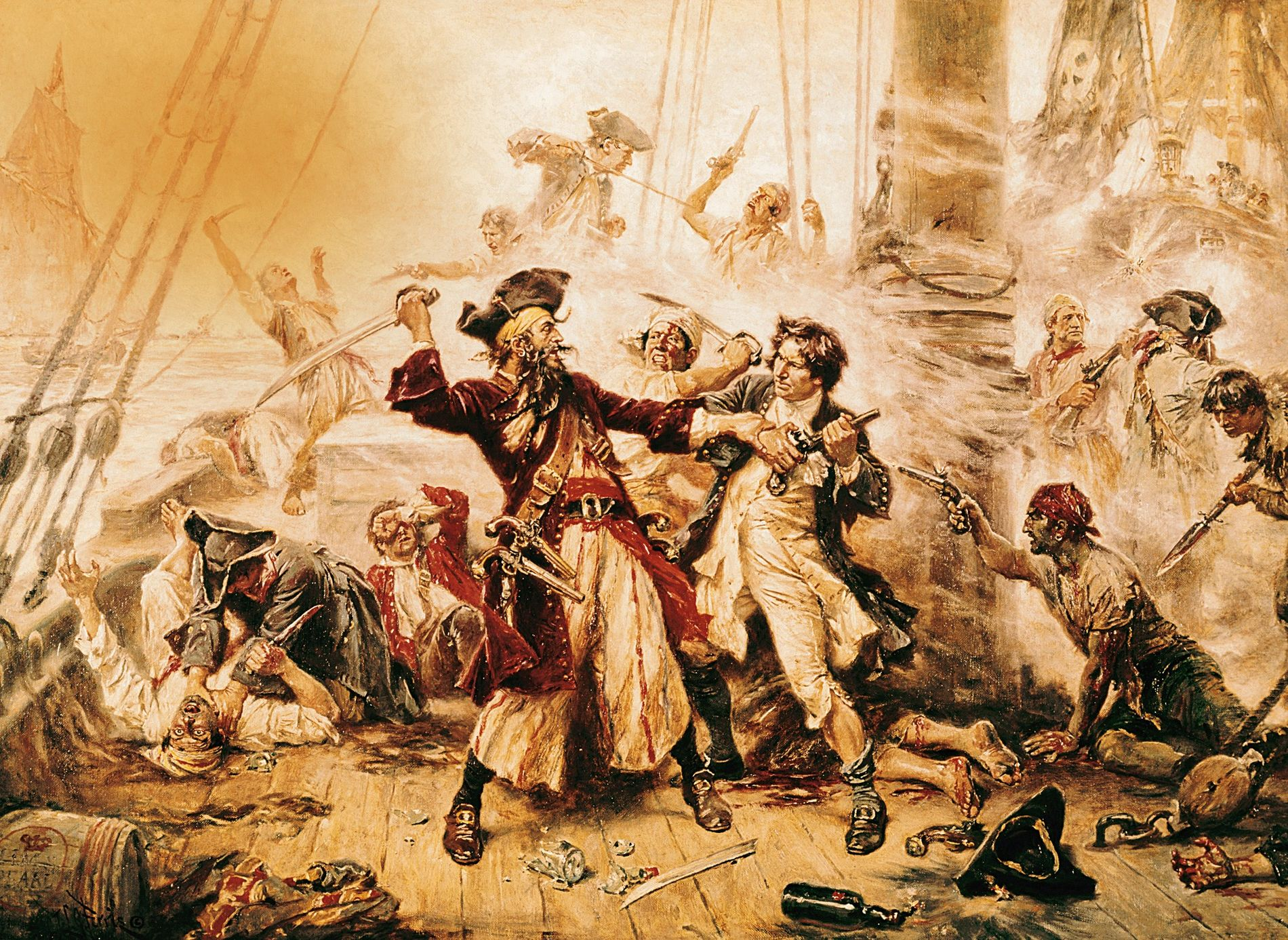 Cette peinture à l'huile de 1718 met en scène Barbe Noire lors de sa dernière bataille contre les troupes de Robert Maynard.