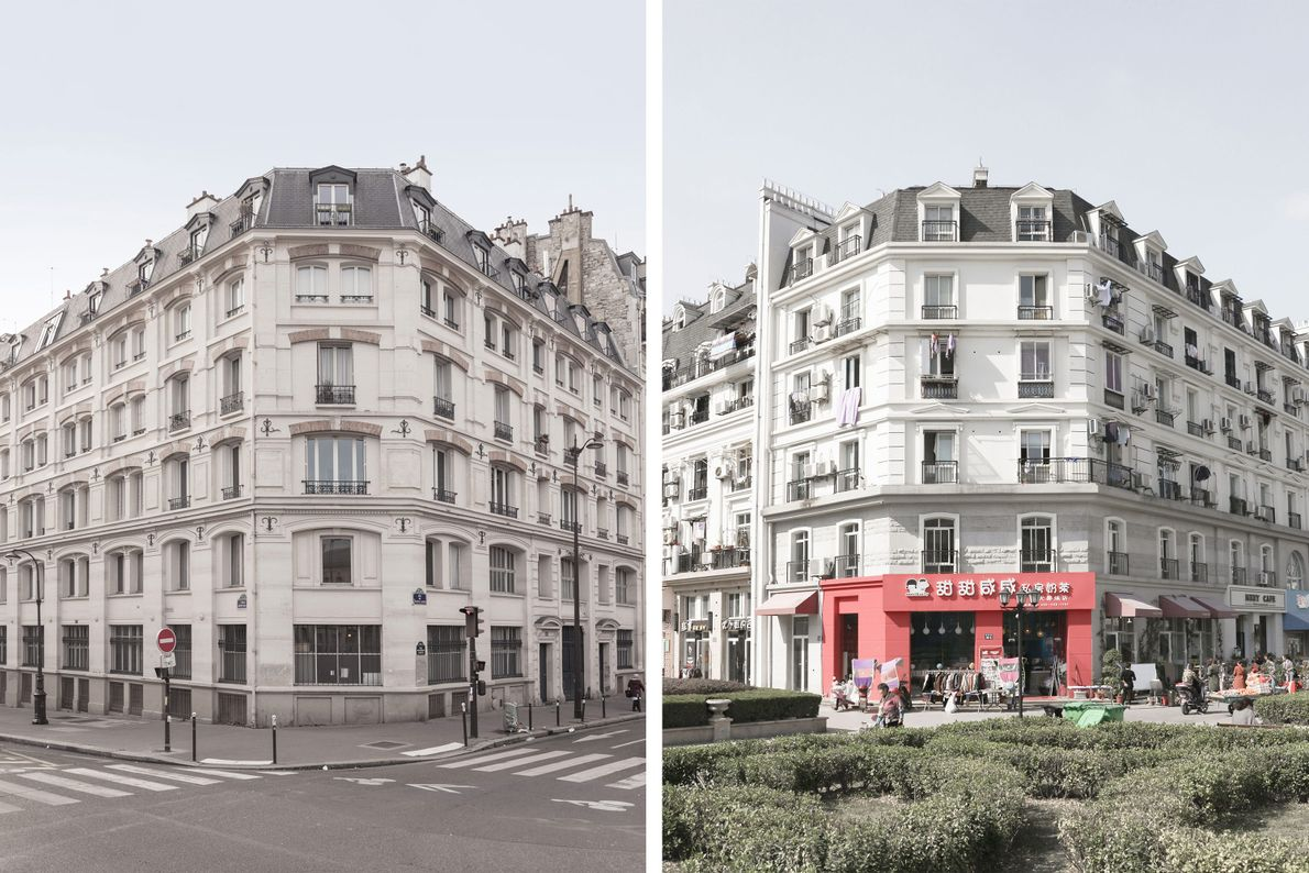 À Tianducheng (à droite), les bâtiments ressemblent fortement à ceux de Paris (à gauche).