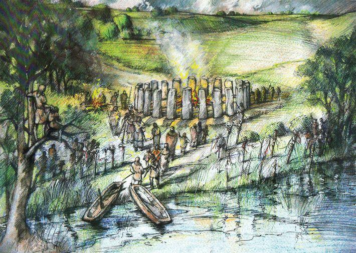 Cette illustration recrée le West Amesbury Circle, ou Bluestonehenge, découvert en 2009 dans le cadre du ...