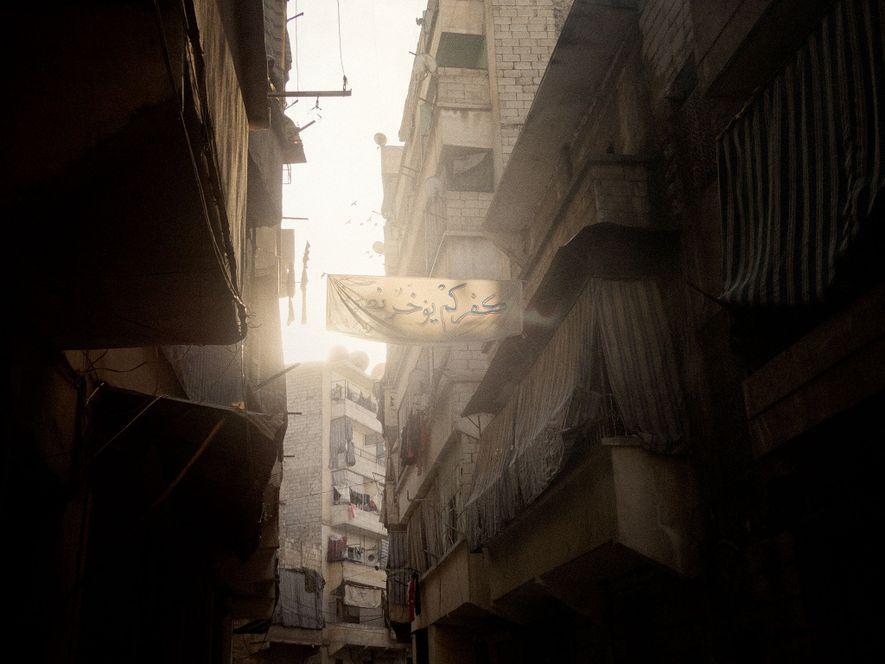 Alep, en Syrie, 2013. Le quartier d'Al-Sukri à Alep aux mains des rebelles.
