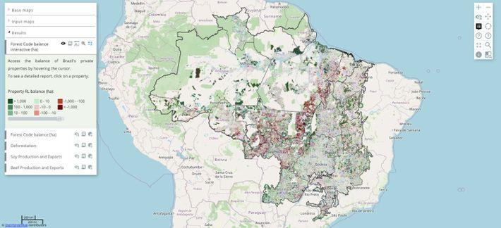 Exemple de carte d'utilisation des terres et de déforestation couvrant les 815 000 propriétés rurales en ...