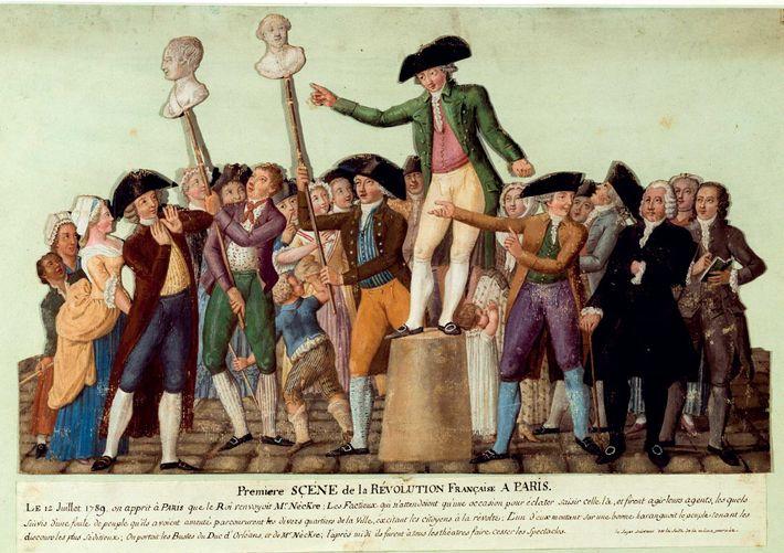 Dans cette gouache de la fin de 18e siècle, des révolutionnaires français hissent des bustes en ...