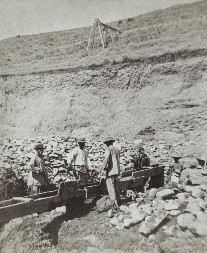 Chinese prospectors washing gold in a sluice box placed in the stream to channel water flown. ...