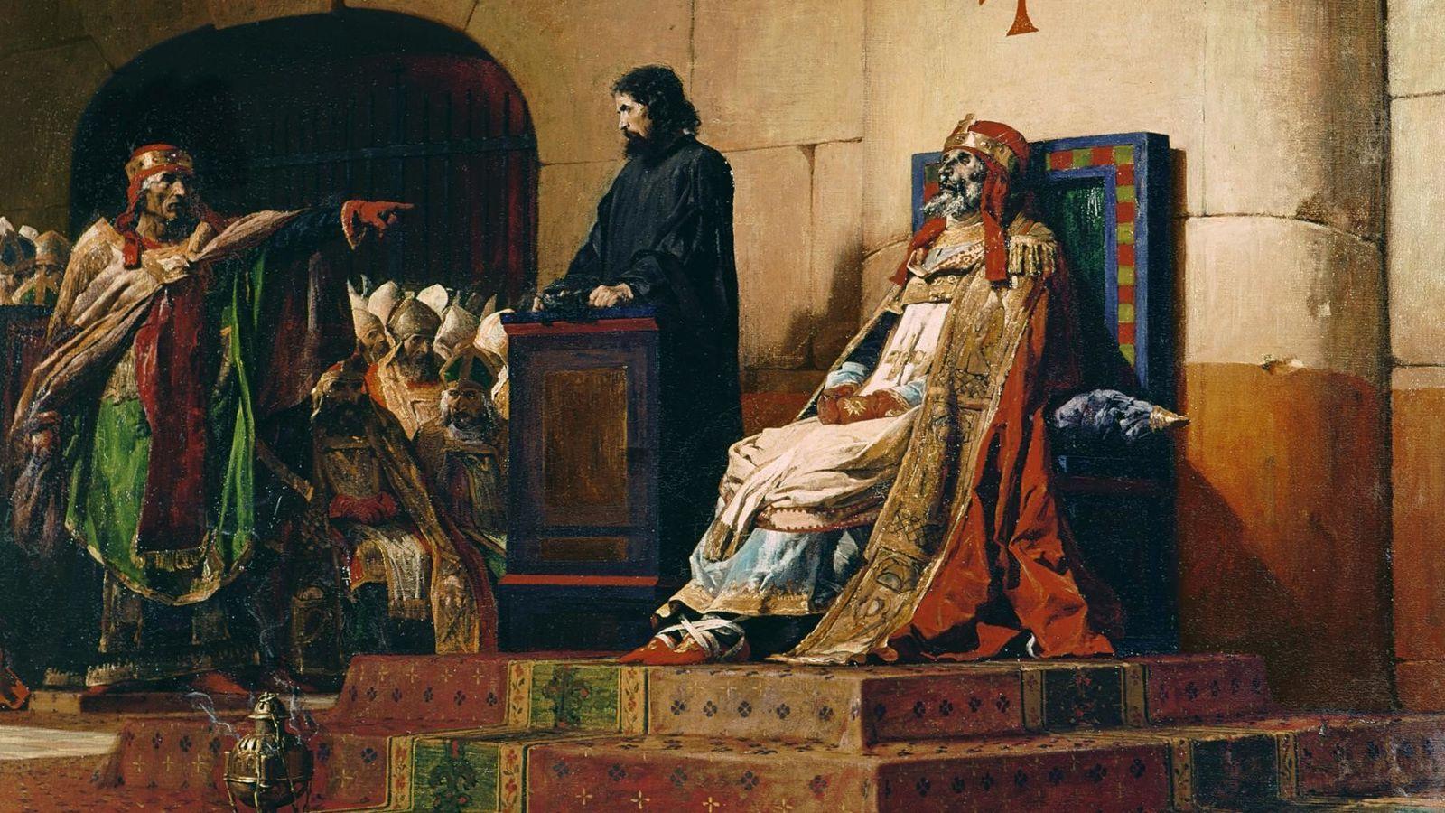Le peintre français Jean-Paul Laurens a représenté le Concile cadavérique, le corps du pape Formose vêtu ...