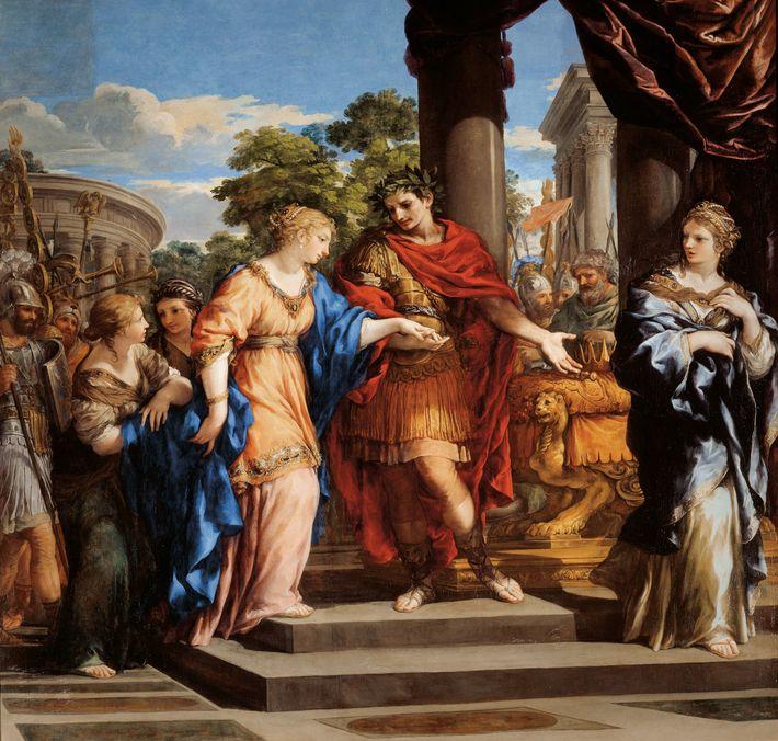 Jules César rend à Cléopâtre le trône égyptien dans cette peinture à l'huile de 1637 de ...
