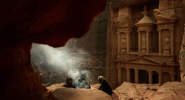 Enclave secrète, Khazneh - Petra, Patrimoine mondial de l'Unesco, Jordanie, 2018Le Trésor - emblème de la ...