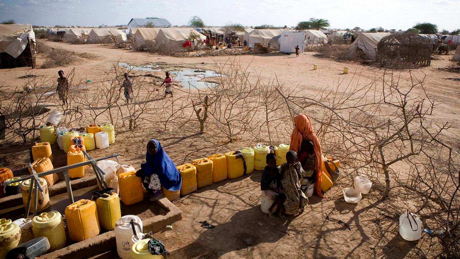 Un point de distribution d'eau dans le camp de Dadaab au Kenya. D'après une nouvelle évaluation ...