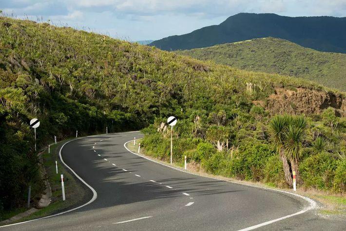 Les routes qui parcourent la Nouvelle-Zélande traversent des collines, une flore luxuriante et des panoramas de ...