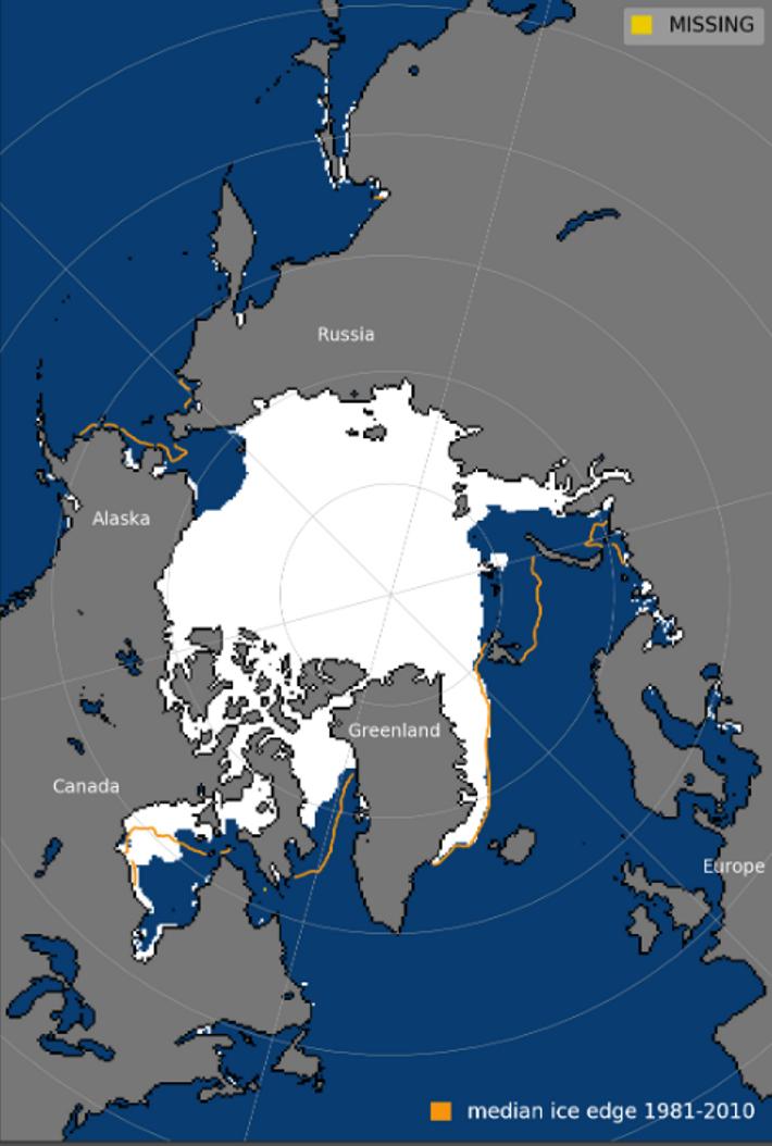 Carte montrant la superficie de la banquise Arctique au 22 octobre 2020 à comparé de la ...
