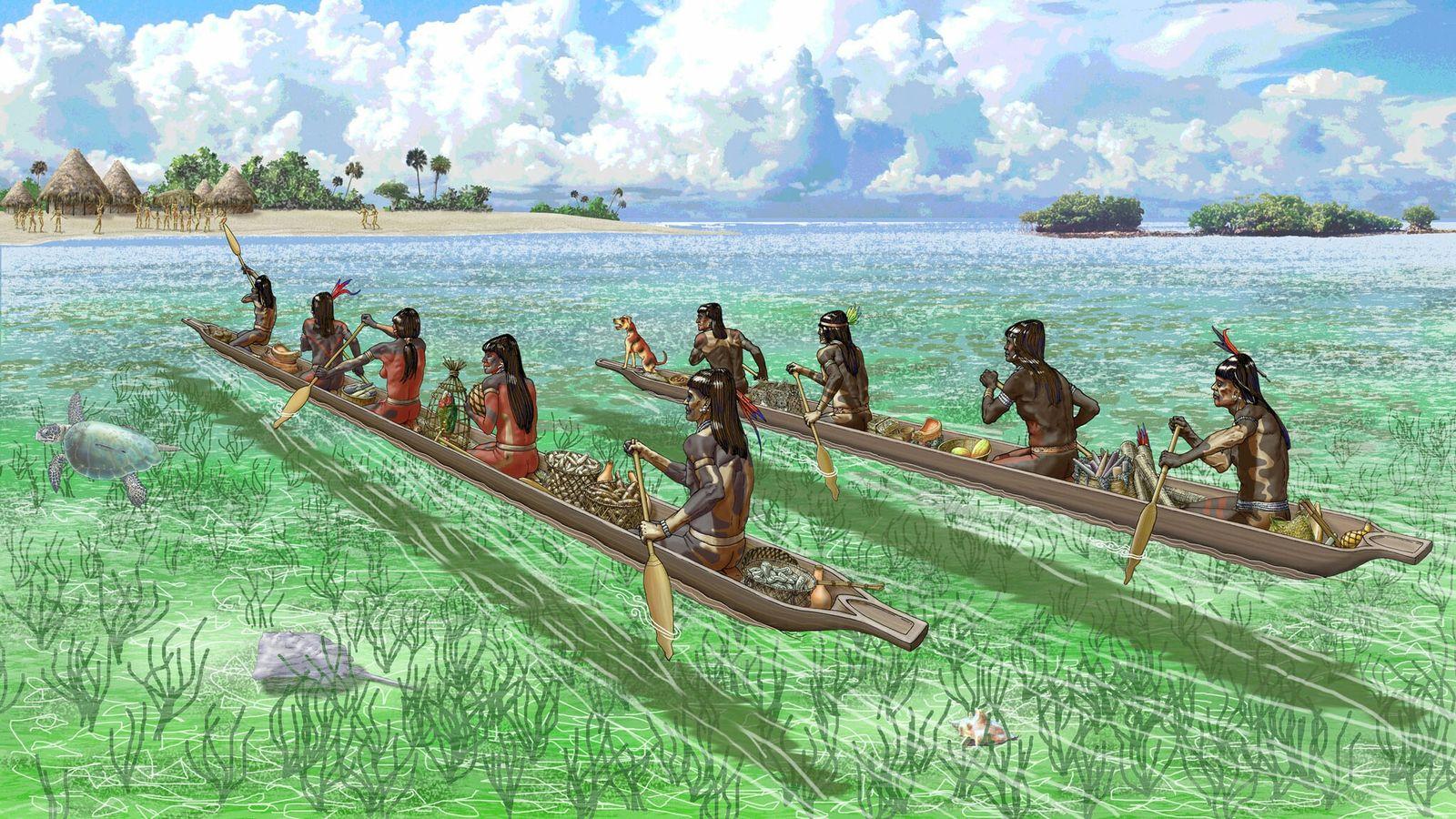 Des marchands caribéens approchent une île des Bahamas appartenant à un ancien réseau commercial qui assurait ...
