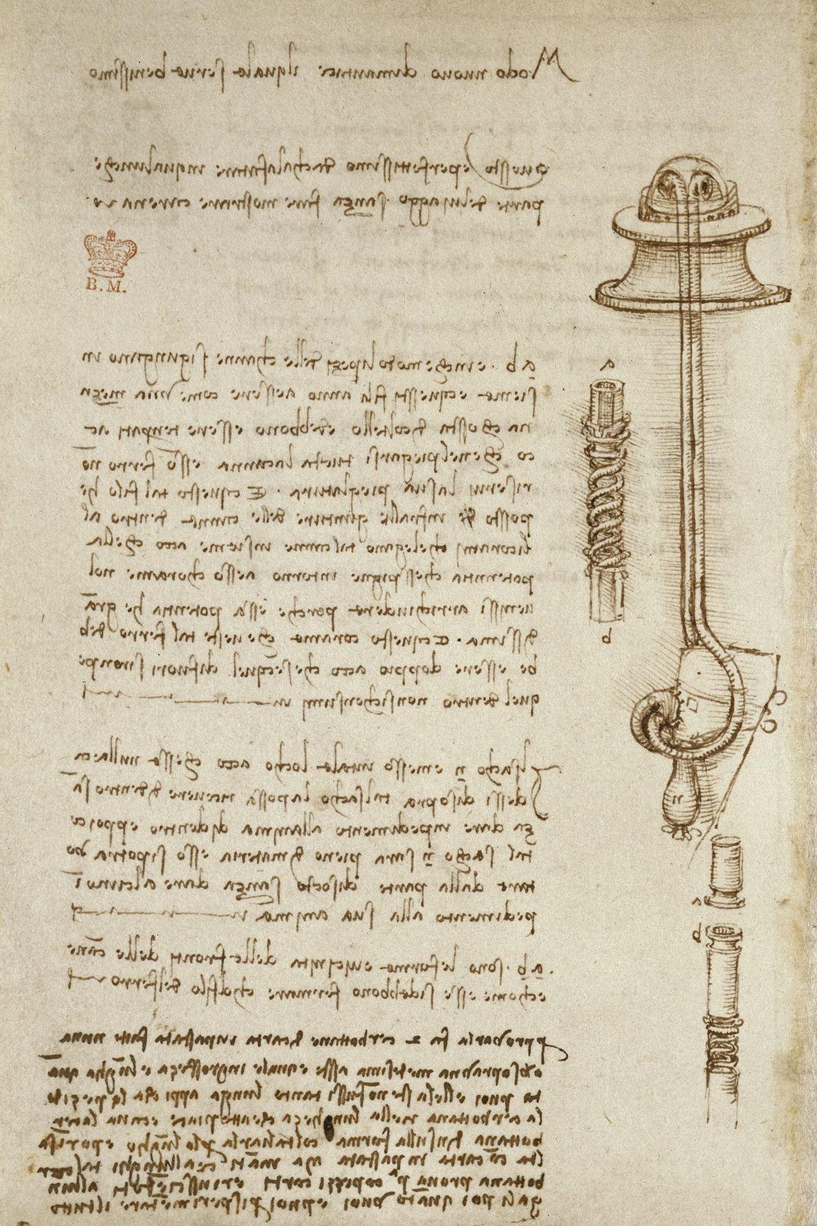 Léonard a rempli ses carnets d'inventions jamais construites, y compris cet appareil conçu pour permettre aux ...