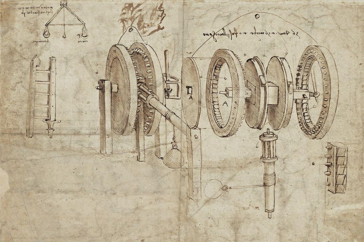 Les conceptions techniques de Léonard incluaient tout, des roues et manivelles aux inventions plus légères, comme ...